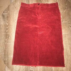 Corduroy red mid length skirt Forever 21